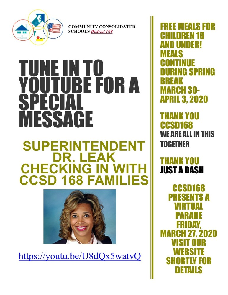 Tune in to YOUTUBE for a special message from Superintendent Dr. Donna S. Leak  https://youtu.be/U8dQx5watvQ