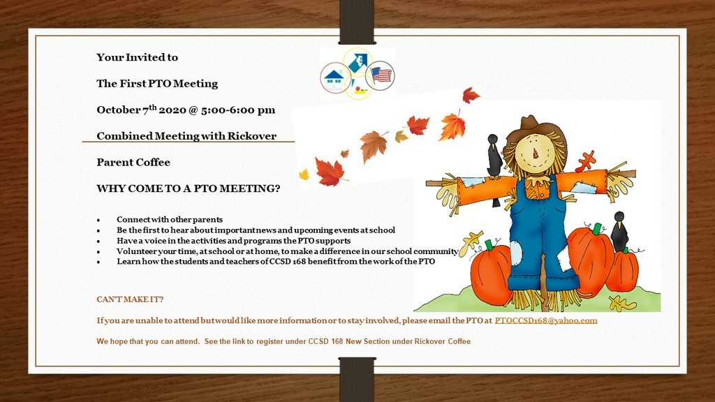 Register Today for the First PTO Meeting!