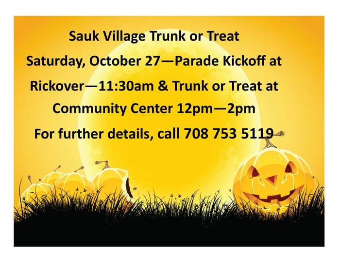 #d168excels Sauk Village Trunk or Treat this Saturday, October 27th