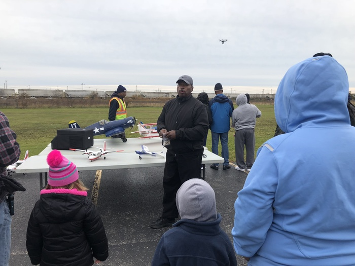 #d168excels Mr. Dennis and Mr. George from the Suburban Aero Club fly drones with Dads during Donuts with Dad at Blossoms.