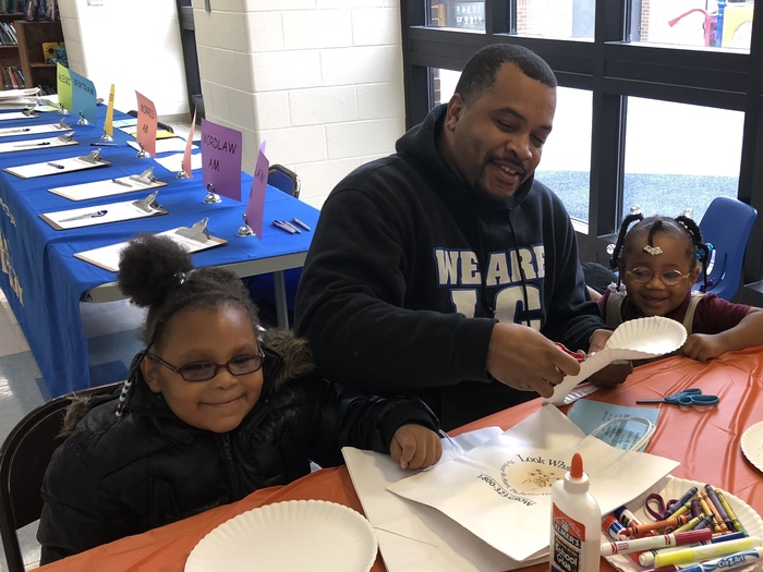 #d168excels It's craft time during Donuts with Dad at Blossoms.