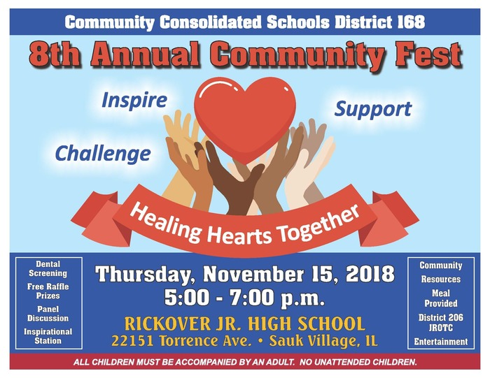 #d168excels Join us for the 8th Annual Community Fest TONIGHT from 5 to 7pm at Rickover!!!