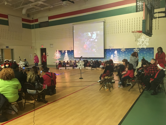 1st and 2nd graders getting ready to entertain with holiday songs!