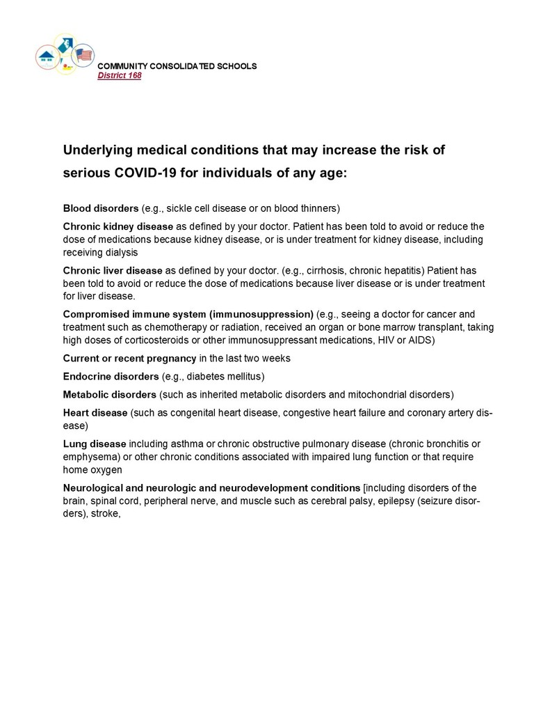 List of underlying medical conditions that may increase the risk of serious COVID-19