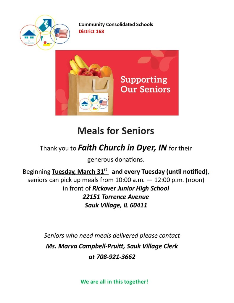 #d168excels Free Meals on Tuesdays to Help Support Our Seniors - Thank you Faith Church in Dyer, Indiana