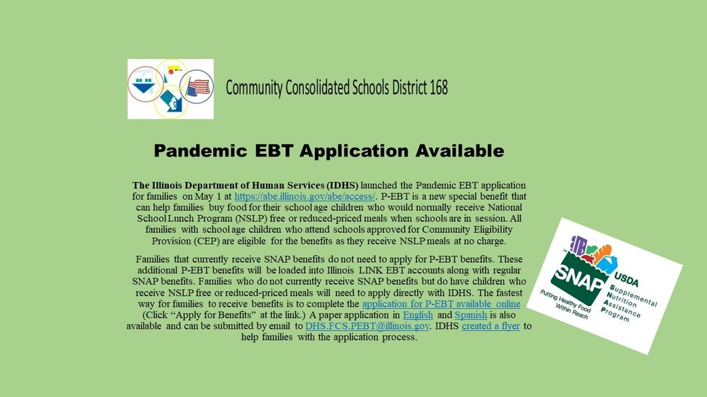Pandemic EBT (SNAP) Appliations are available