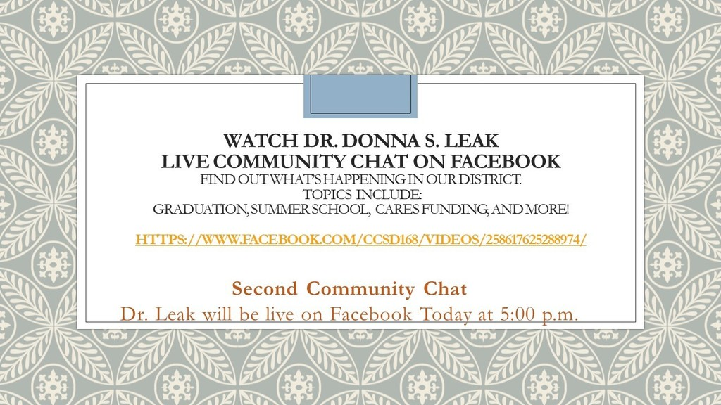 Dr. Leak will be live on Facebook TODAY at 5:00 p.m.