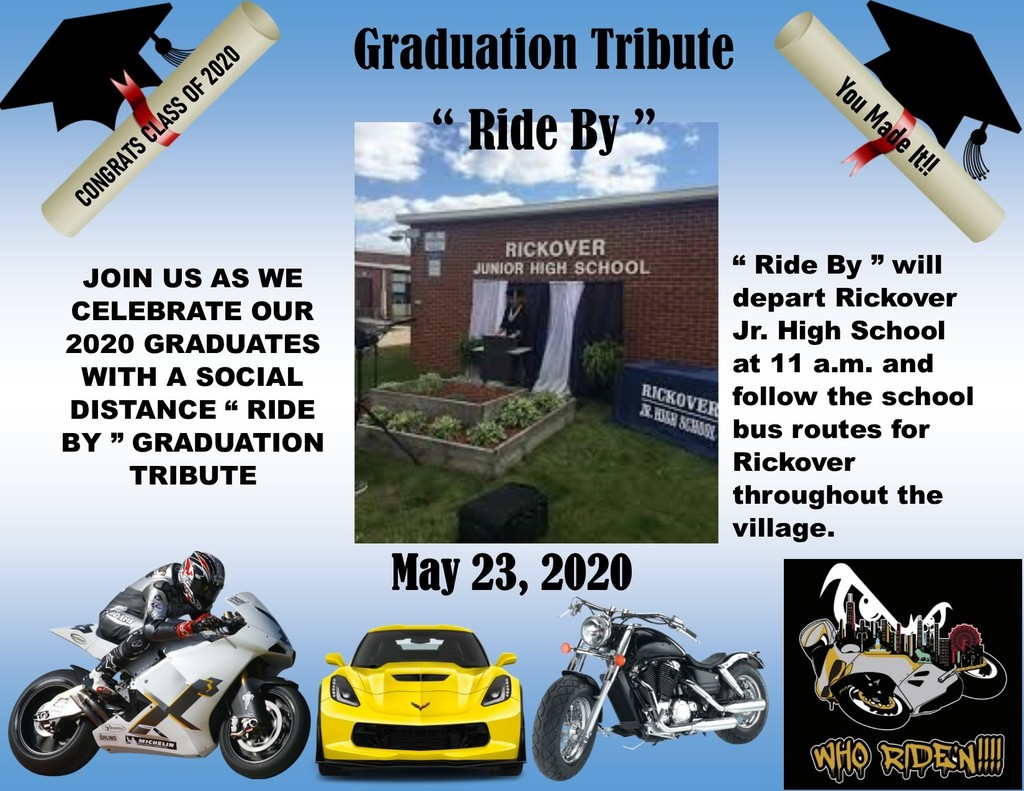 Ride by Graduation Tribute - May 23, 2020 at 11:00 AM @ Rickover