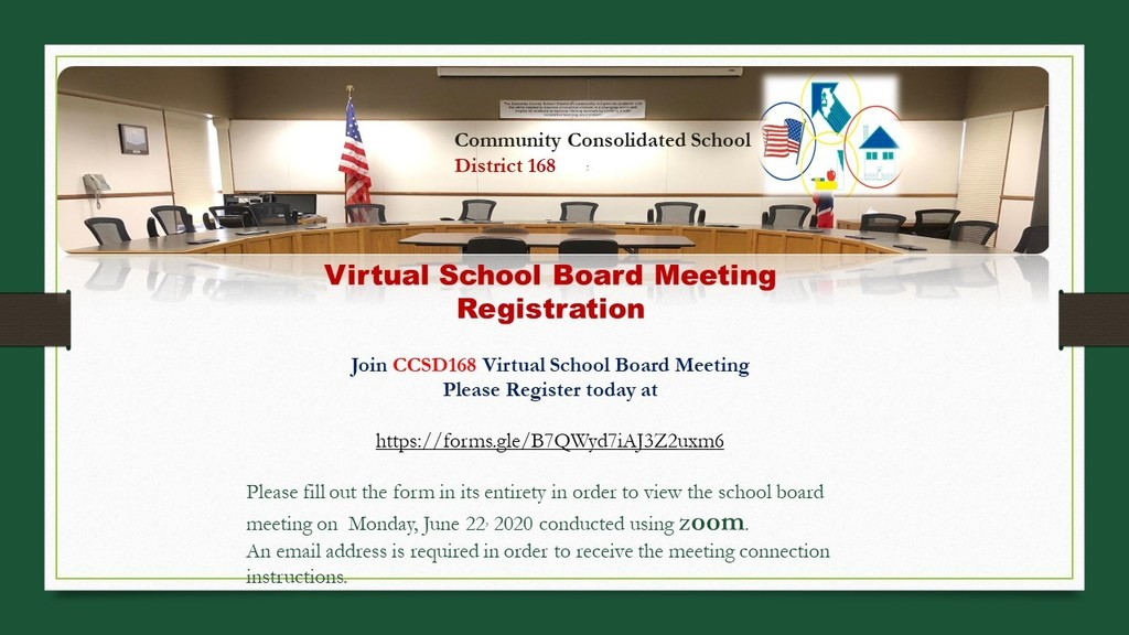 Virtual School Board Meeting Registration -  . Please register today at https://forms.gle/oCAQQhDqj1U7SPQT8    An email address is required in order to receive the meeting connection instructions.