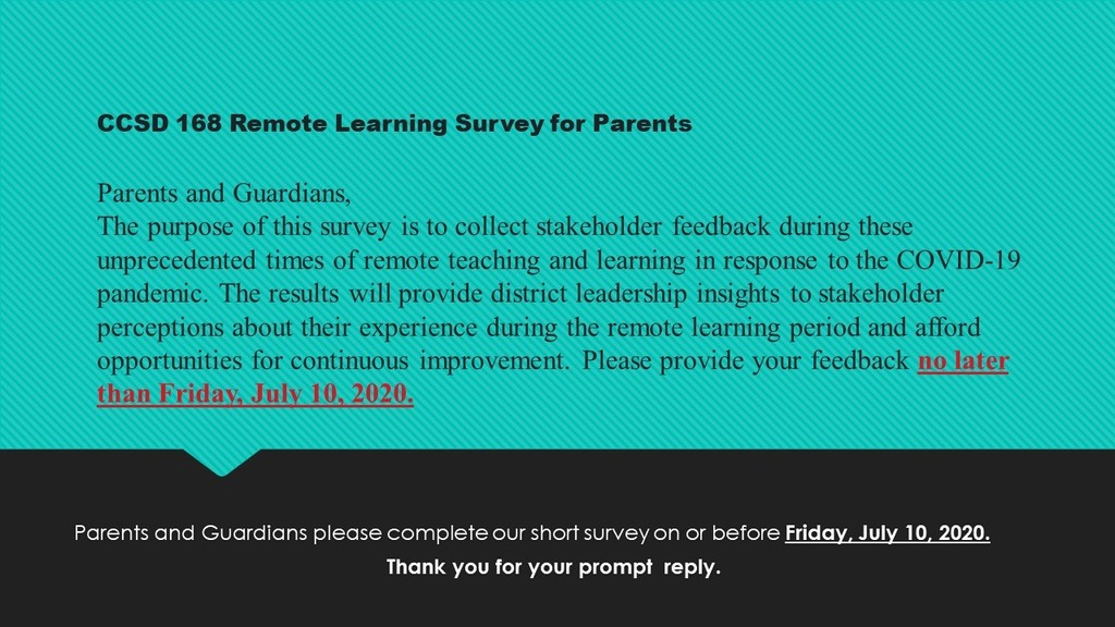 #d168excels - Parent Remote Learning Survey Click the link to complete our short survey in English at https://forms.gle/rLPPsf4YxW1DRsLr7  or Spanish at https://forms.gle/6Rz16ysVNiW9WQqm7