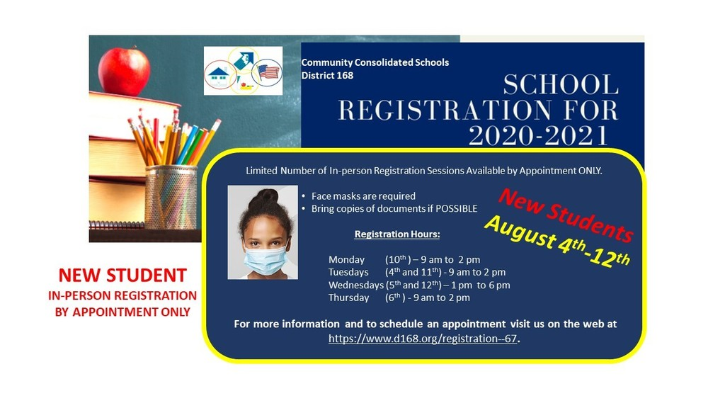 New Student In-person Registration by Appointment Only!