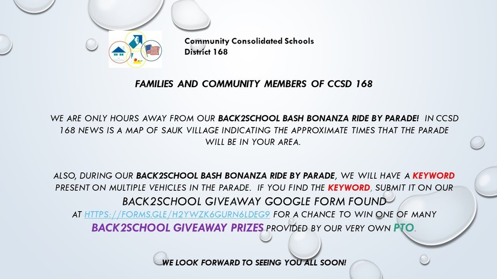 Back 2 School Bash -  Giveaway Prizes - Fun for the entire family
